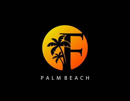 F Letter Palm Tree and Sun Set Logo Icon. Perfect for surfing shop, sport, Tour and Travel. Initial F with sunset and palm tree.