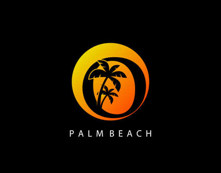 O Letter Palm Tree and Sun Set Logo Icon. Perfect for surfing shop, sport, Tour and Travel. Initial O with sunset and palm tree.