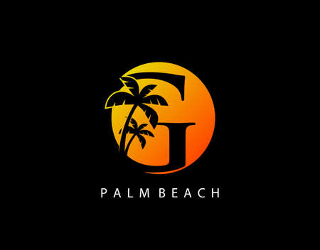 G Letter Palm Tree and Sun Set Logo Icon. Perfect for surfing shop, sport, Tour and Travel. Initial G with sunset and palm tree. Иллюстрация