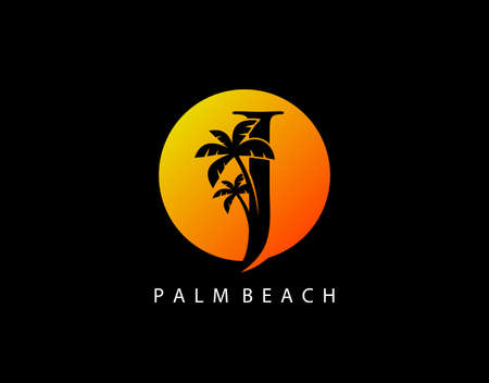 J Letter Palm Tree and Sun Set Logo Icon. Perfect for surfing shop, sport, Tour and Travel. Initial J with sunset and palm tree.