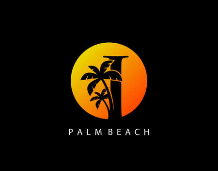 I Letter Palm Tree and Sun Set Logo Icon. Perfect for surfing shop, sport, Tour and Travel. Initial I with sunset and palm tree.