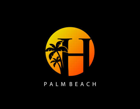 H Letter Palm Tree and Sun Set Logo Icon. Perfect for surfing shop, sport, Tour and Travel. Initial H with sunset and palm tree.
