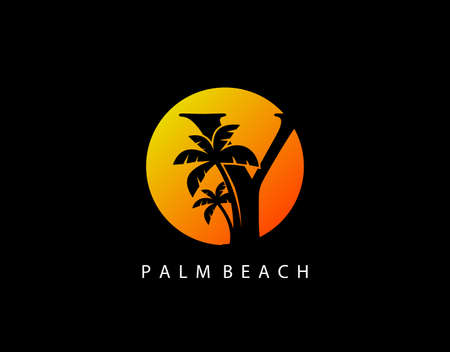 Y Letter Palm Tree and Sun Set Logo Icon. Perfect for surfing shop, sport, Tour and Travel. Initial Y with sunset and palm tree.