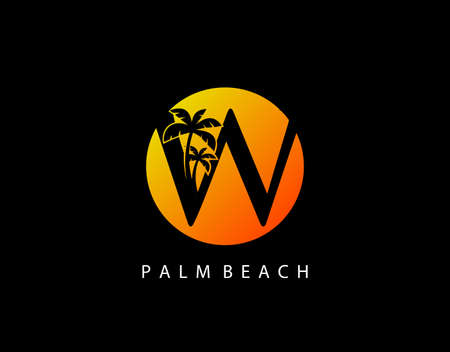W Letter Palm Tree and Sun Set Logo Icon. Perfect for surfing shop, sport, Tour and Travel. Initial W with sunset and palm tree.