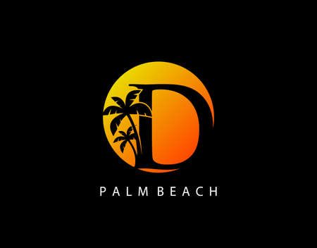 D Letter Palm Tree and Sun Set Logo Icon. Perfect for surfing shop, sport, Tour and Travel. Initial D with sunset and palm tree.