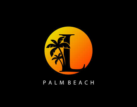 L Letter Palm Tree and Sun Set Logo Icon. Perfect for surfing shop, sport, Tour and Travel. Initial L with sunset and palm tree.