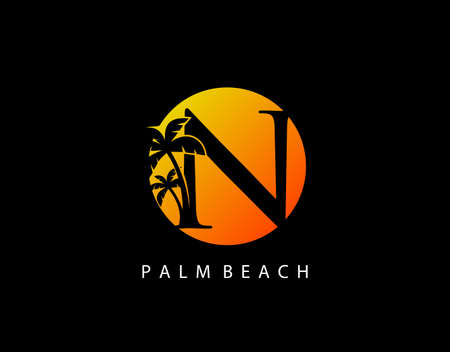 N Letter Palm Tree and Sun Set Logo Icon. Perfect for surfing shop, sport, Tour and Travel. Initial N with sunset and palm tree. Иллюстрация