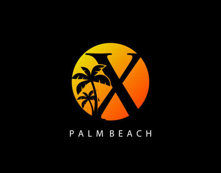 X Letter Palm Tree and Sun Set Logo Icon. Perfect for surfing shop, sport, Tour and Travel. Initial X with sunset and palm tree.