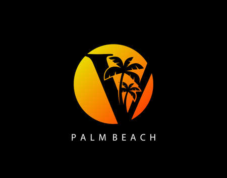 V Letter Palm Tree and Sun Set Logo Icon. Perfect for surfing shop, sport, Tour and Travel. Initial V with sunset and palm tree.