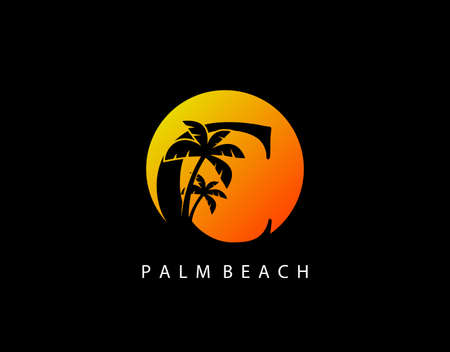 C Letter Palm Tree and Sun Set Logo Icon. Perfect for surfing shop, sport, Tour and Travel. Initial C with sunset and palm tree.