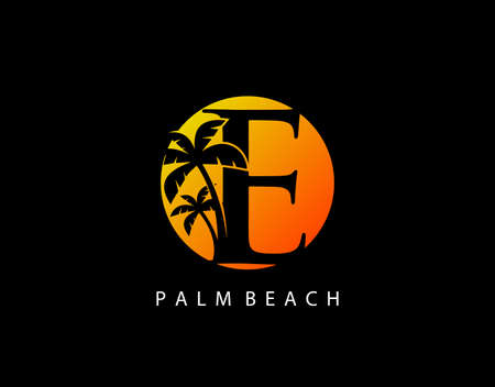 E Letter Palm Tree and Sun Set Logo Icon. Perfect for surfing shop, sport, Tour and Travel. Initial E with sunset and palm tree.
