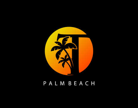 T Letter Palm Tree and Sun Set Logo Icon. Perfect for surfing shop, sport, Tour and Travel. Initial T with sunset and palm tree.