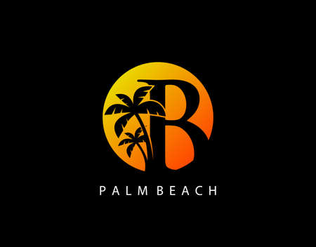 B Letter Palm Tree and Sun Set Logo Icon. Perfect for surfing shop, sport, Tour and Travel. Initial B with sunset and palm tree.