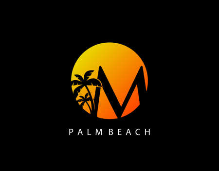 M Letter Palm Tree and Sun Set Logo Icon. Perfect for surfing shop, sport, Tour and Travel. Initial M with sunset and palm tree. Иллюстрация