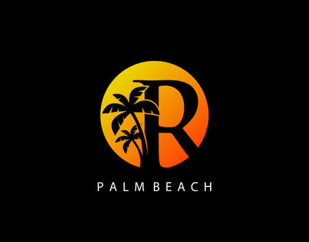 R Letter Palm Tree and Sun Set Logo Icon. Perfect for surfing shop, sport, Tour and Travel. Initial A with sunset and palm tree.