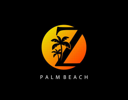 Z Letter Palm Tree and Sun Set Logo Icon. Perfect for surfing shop, sport, Tour and Travel. Initial A with sunset and palm tree. Иллюстрация