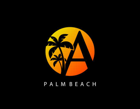 A Letter Palm Tree and Sun Set Logo Icon. Perfect for surfing shop, sport, Tour and Travel. Initial A with sunset and palm tree. Иллюстрация