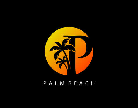 P Letter Palm Tree and Sun Set Logo Icon. Perfect for surfing shop, sport, Tour and Travel. Initial P with sunset and palm tree. Иллюстрация