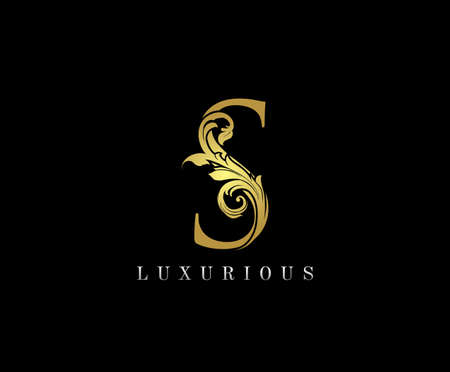 Gold S Luxury Logo Icon, Classy S Letter Logo Design.