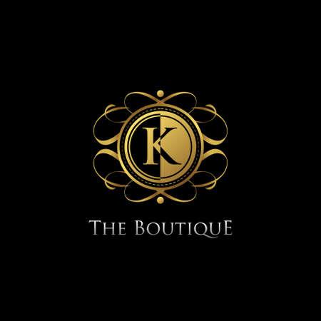 Golden K Letter Luxury Boutique Logo Vector. Ilustração