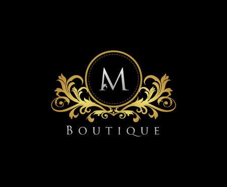 Golden M Boutique Logo Icon, Luxury M Letter Logo Design. Logo