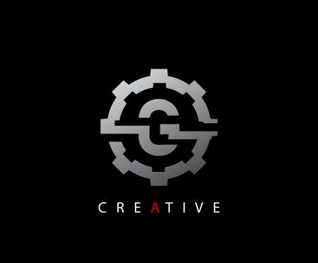 Abstract Gear Initial Letter G Technology logo icon vector design concept.