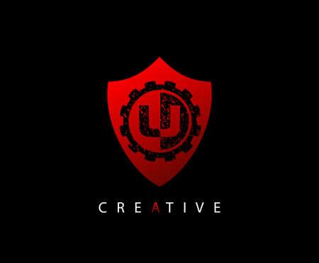 Abstract Shield Initial Letter U logo icon vector design concept. Ilustração