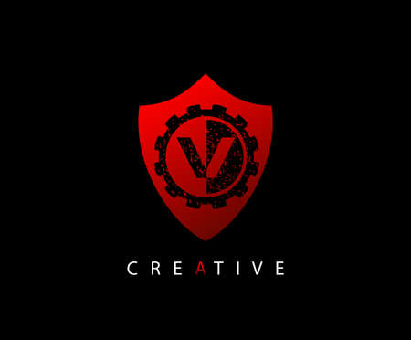 Abstract Shield Initial Letter V logo icon vector design concept. Ilustração