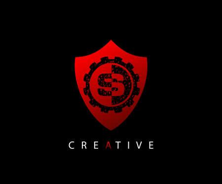 Abstract Shield Initial Letter S logo icon vector design concept. Ilustração