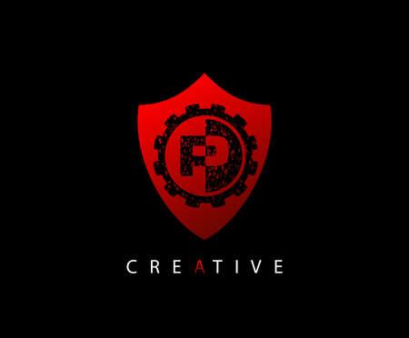 Abstract Shield Initial Letter P logo icon vector design concept. Ilustração