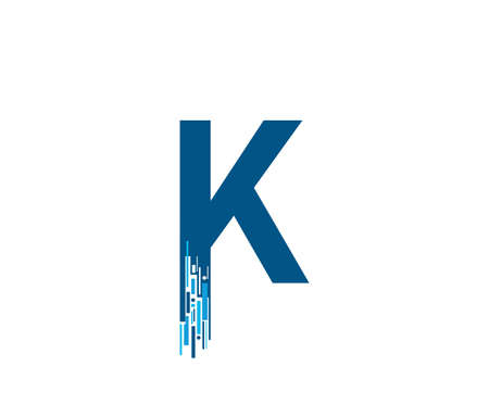 Letter K Digital Network , Technology and digital abstract line K network circuit vector  .
