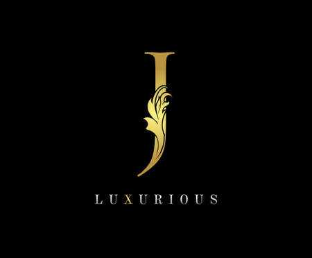 Golden J Luxury Logo Icon, Classic J Letter Logo Design.