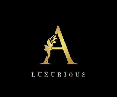 Golden A Luxury Logo Icon, Classic A Letter Logo Design. 向量圖像