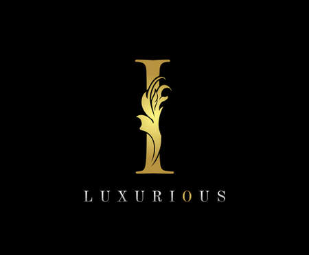 Golden I Luxury Logo Icon, Classic I Letter Logo Design.