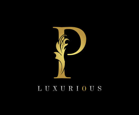 Golden P Luxury Logo Icon, Classic P Letter Logo Design.