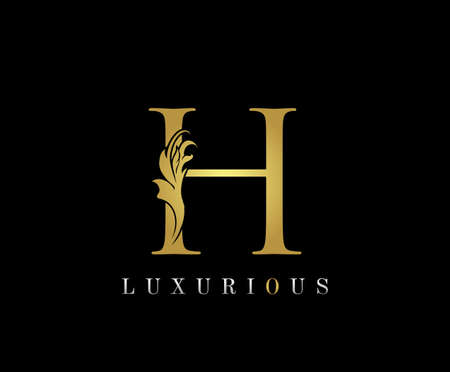 Golden H Luxury Logo Icon, Classic H Letter Logo Design.