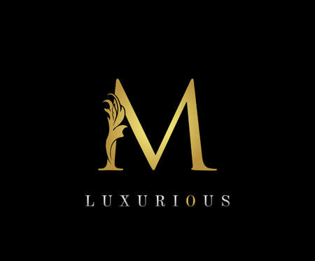 Golden M Luxury Logo Icon, Classic M Letter Logo Design.