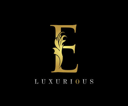Golden E Luxury Logo Icon, Classic E Letter Logo Design.