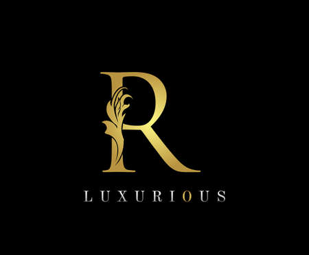 Golden R Luxury Logo Icon, Classic R Letter Logo Design.