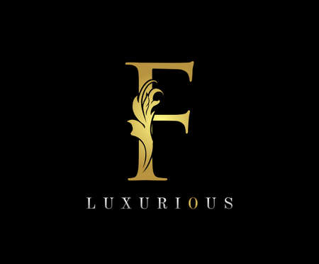 Golden F Luxury Logo Icon, Classic F Letter Logo Design. 向量圖像