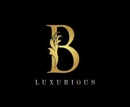 Golden B Luxury Logo Icon, Classic B Letter Logo Design.