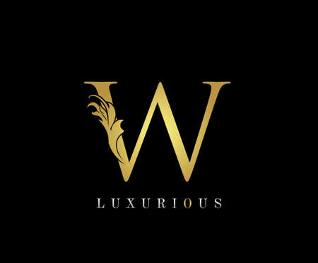 Golden W Luxury Logo Icon, Classic W Letter Logo Design. 向量圖像