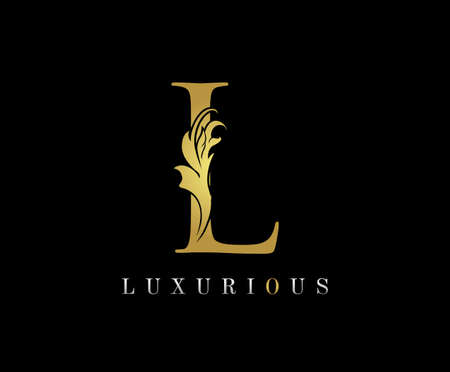 Golden L Luxury Logo Icon, Classic L Letter Logo Design. 向量圖像