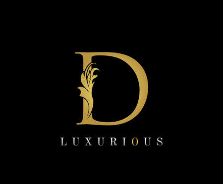 Golden D Luxury Logo Icon, Classic D Letter Logo Design.