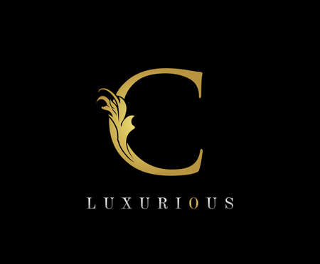 Golden C Luxury Logo Icon, Classic C Letter Logo Design. 向量圖像