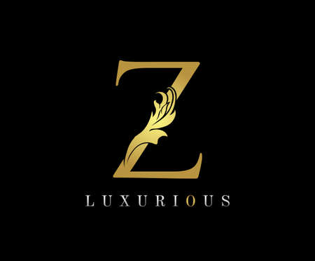 Golden Z Luxury Logo Icon, Classic Z Letter Logo Design.