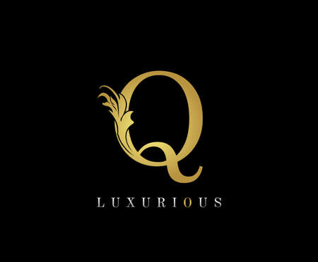 Golden Q Luxury Logo Icon, Classic Q Letter Logo Design.