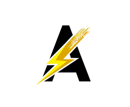 Flash A Letter Logo, Digital Data Electrical Bolt Logo Vector 向量圖像