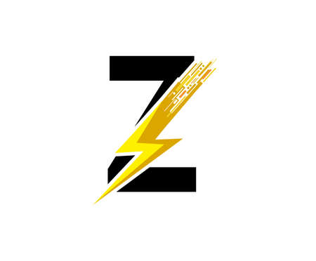 Flash Z Letter Logo, Digital Data Electrical Bolt Logo Vector