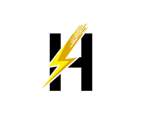 Flash H Letter Logo, Digital Data Electrical Bolt Logo Vector 向量圖像
